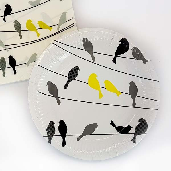 yellow birds on wire paper plates