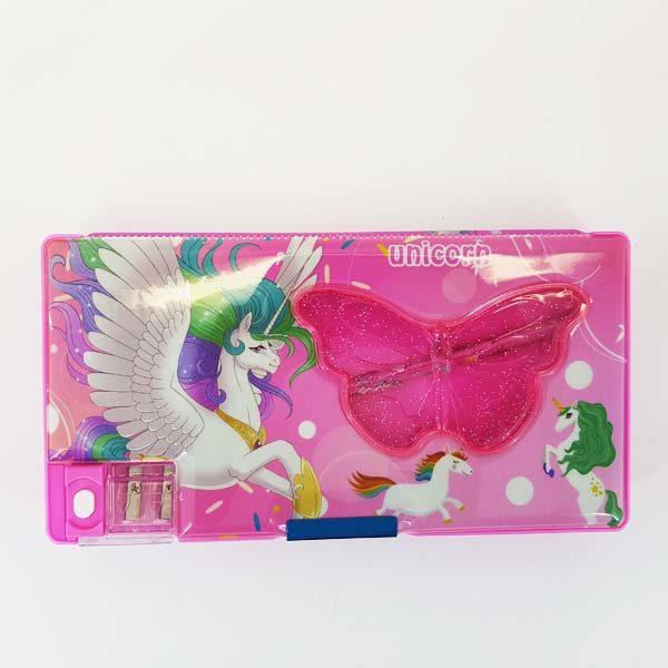 Pink Unicorn Pencil Case with Sharpener & Pencils 3